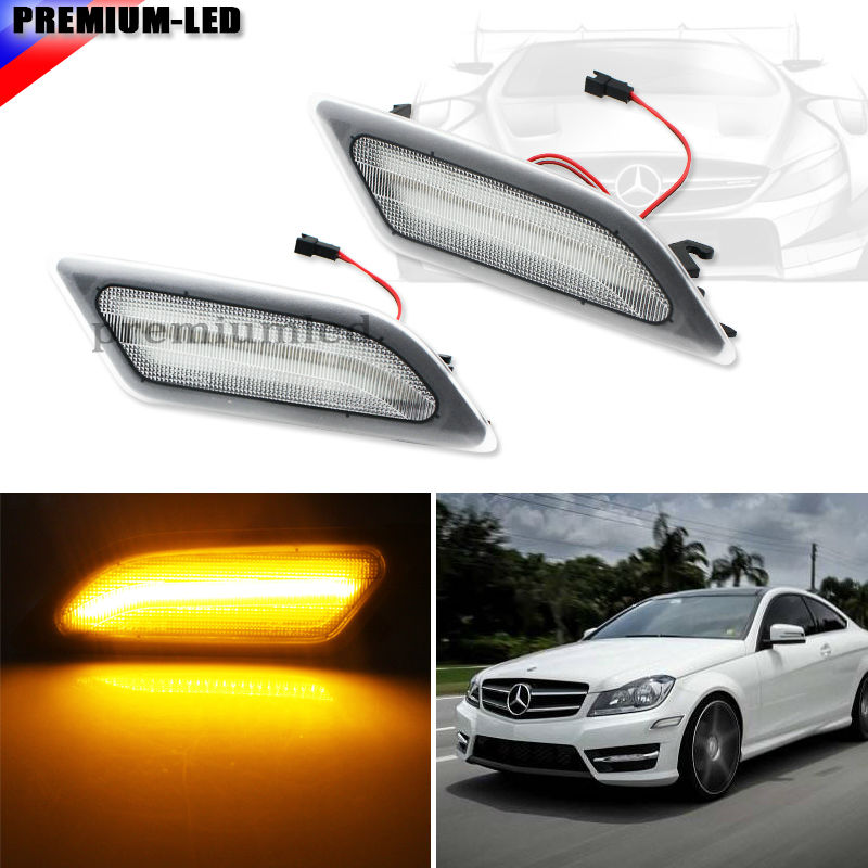 (2) Euro Clear Lens Amber LED Side Marker Lights For Mercedes Benz 2012-2014  W204 LCI C250 C300 C350 Sedan/Coupe 2 x t10 led w5w canbus car side parking light bulbs with projector lens for mercedes benz c250 c300 e350 e550 ml550 r320 r350