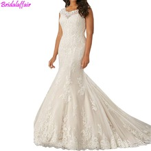 2019 Lace a line Wedding Gowns Plus Size Mermaid Dress Buttons luxury Sweep train robe mariage