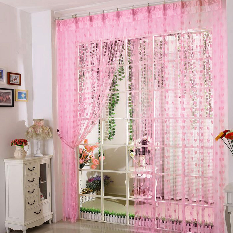 2pcs ruffled hem lace voile curtain window screening bed mantle ...