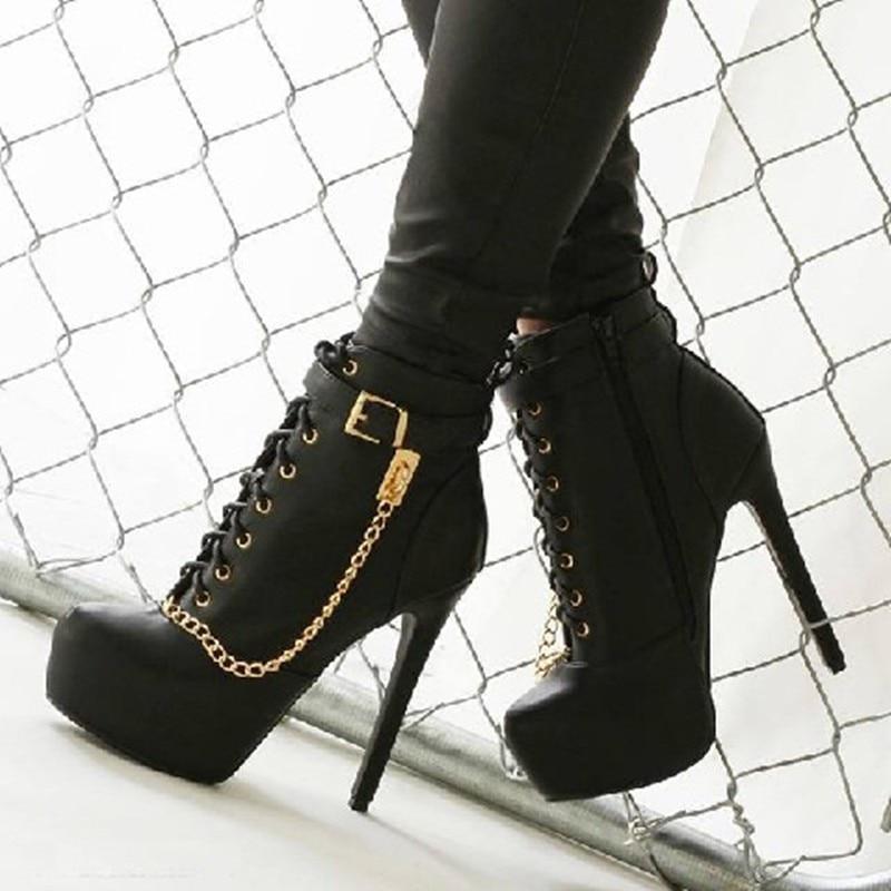 ФОТО PADEGAO 2017 Women Boots black high heel boots ankle boots zip built in 2.5 cm watertable heel high 12.5cm Plus Size