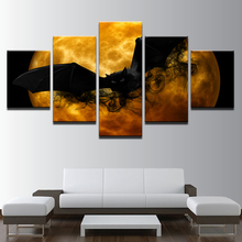 Canvas Prints Posters Living Room Wall Art 5 Pieces Crazy Halloween Paintings Black Bat Orange Moon Abstract Pictures Home Decor