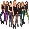 2016 4XL 11 Cores Mulheres Sereia Leggings Plus Size Escama de Peixe Moda Calças Do Punk Vermelho Verde Azul Preto Roxo Prata