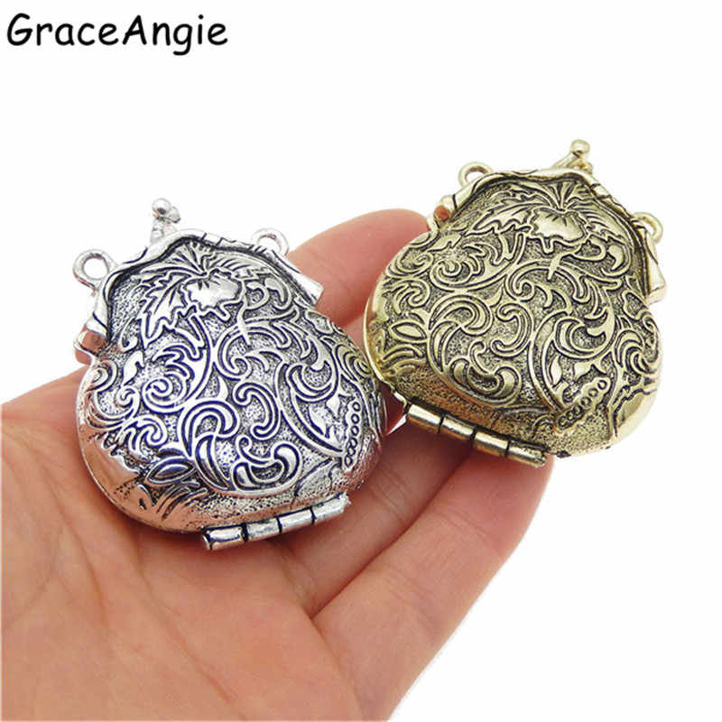 (2piece)Mix Antique Silver Bronze Tone Ancient Purse Locket Alloy Charm Pendants 54*44mm OpenClose Top Jewelry Lover Gift 52609