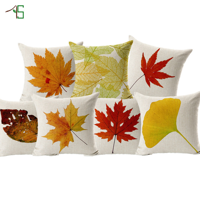Autumn Leaves Cushion Cover Fall Yellow Red Marple Leaf Print Linen Cojines  For Sofa Furniture Home