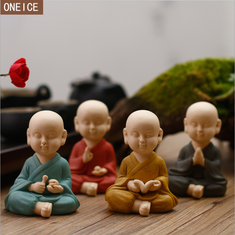 Chinese Ceramics Small Monk Sculpture Painted Pottery Home Decoration Accessories Buddha Statues Crafts Gift Small Buddha Statue