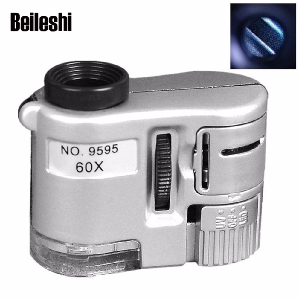 Outdoor Lighting Spotlights For Home Mini Microscope: Beileshi 60x ABS Material Portable Mini Microscope With