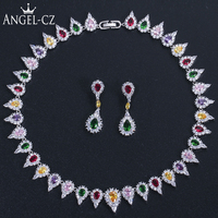 ANGELCZ Gorgeous Micropave Indian Cubic Zirconia Multicolor Waterdrop Stone Wedding Costume Jewelry Necklace Set for Bride AJ163