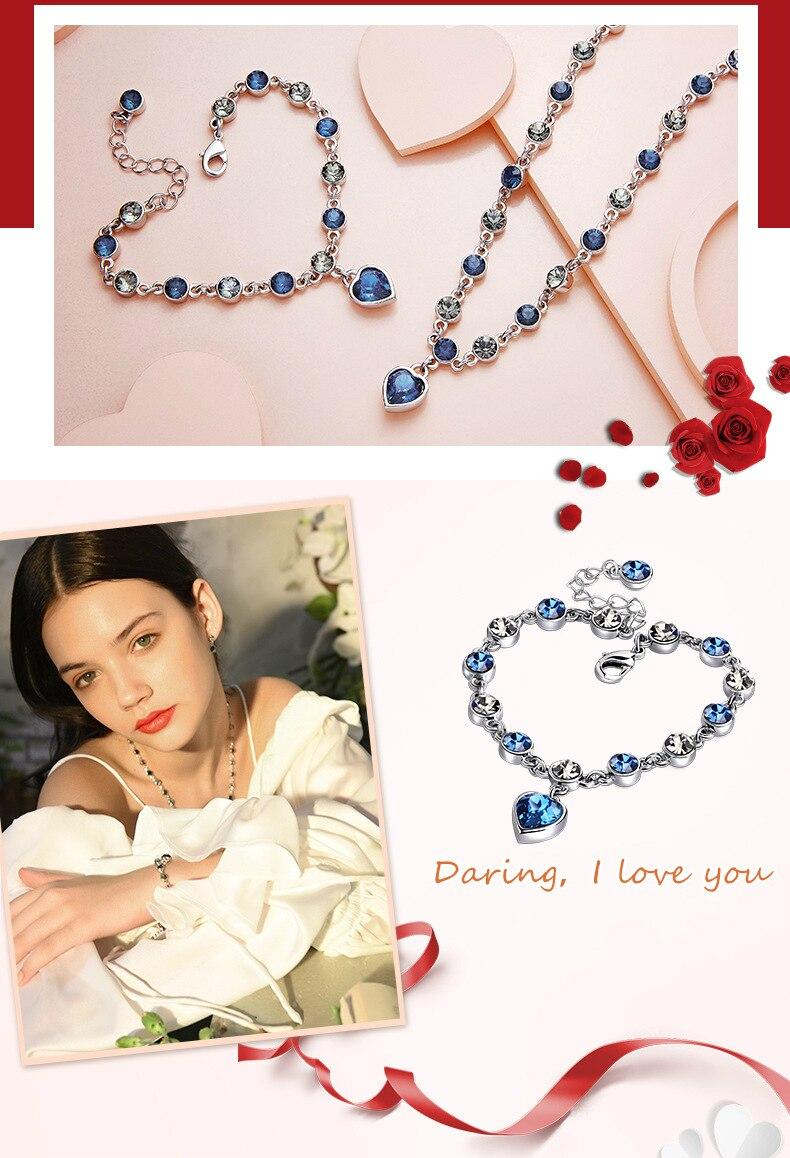 HTB1ZqQamQ7mBKNjSZFyq6zydFXam 925 Sterling Silver Sapphire Bracelet For Women Romantic Heart-shaped Blue jewelry pulseira feminina kehribar bizuteria Bracelet