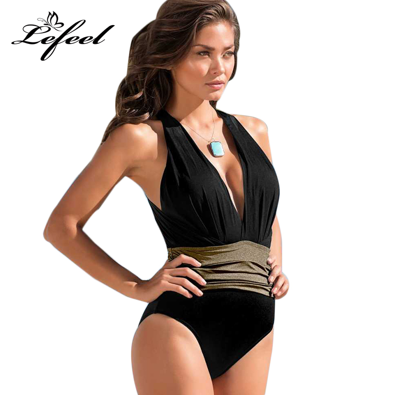 Lefeel 2018 Sexy One Piece Swimsuit Cross Bandage Beach Wear Women Swimwear Solid Bathing Suit Backless Patchwork Monokini B783 women solid one piece swimsuit halter backless bandage bodysuit monokini deep v neck sexy high waist vintage beach wear page 4