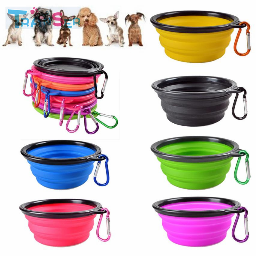 Transer Dog Bowl Portable Foldable Collapsible Silicone Pet Cat Dog Food Water Feeding Travel Bowl Drop Shipping 18jan27