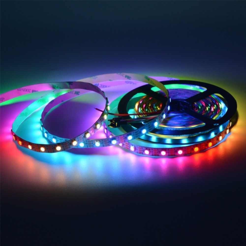 WS2812B 5050 RGB LED قطاع 5 متر 150 300 المصابيح 144 30 60 LED/م الفردية عنونة 5 فولت