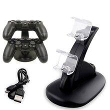 Luz LED Azul Controlador Dual PS4 Estande Carregador Doca Estação de Carregamento Rápido Sem Fio Gamepad Controlador de Jogo Pega Suporte