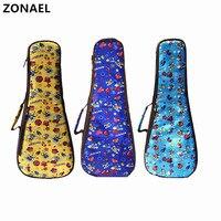 ZONAEL 21 23 24 26 Inch Soprano Concert Tenor Ukulele Bag Case Backpack Nylon Material Cover