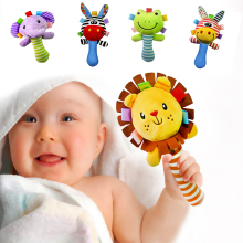 Baby Cute Plush Rattles Toy Soft Lion Elephant Mobiles Handbells Newborn Toddlers Grasp Training Toys Cartoon Animal Ring Bell