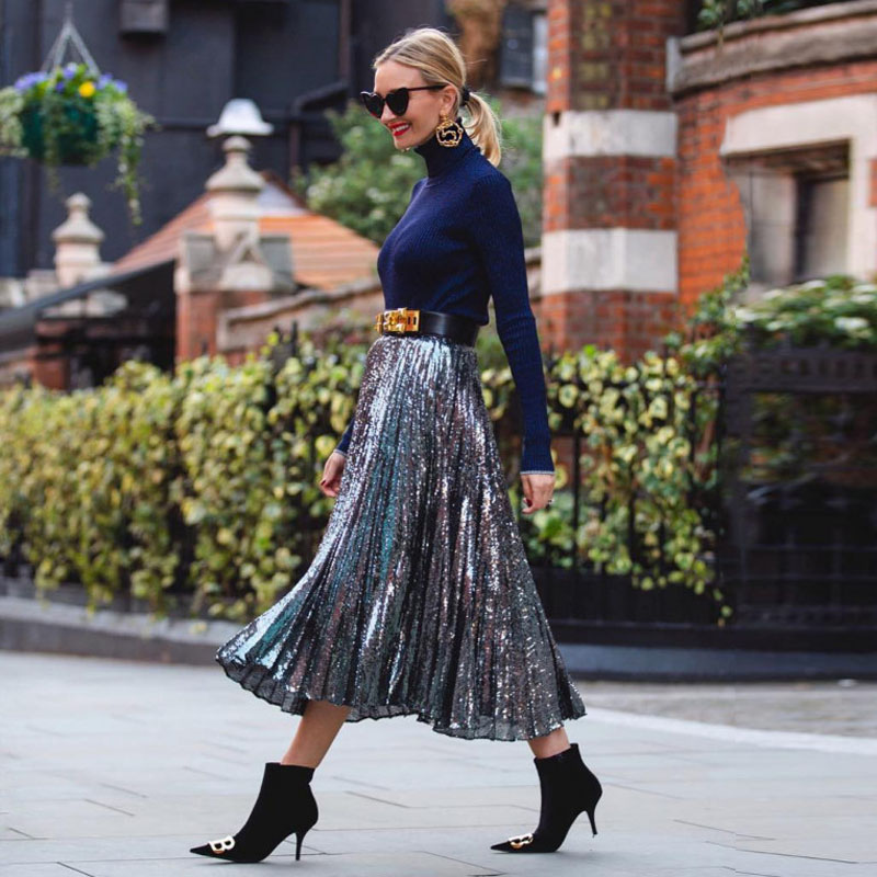 2019 Fashion Pleated Sequins Skirt High Waist A Line 80CM Length Sequined Maxi Skirts For Women Faldas Saia