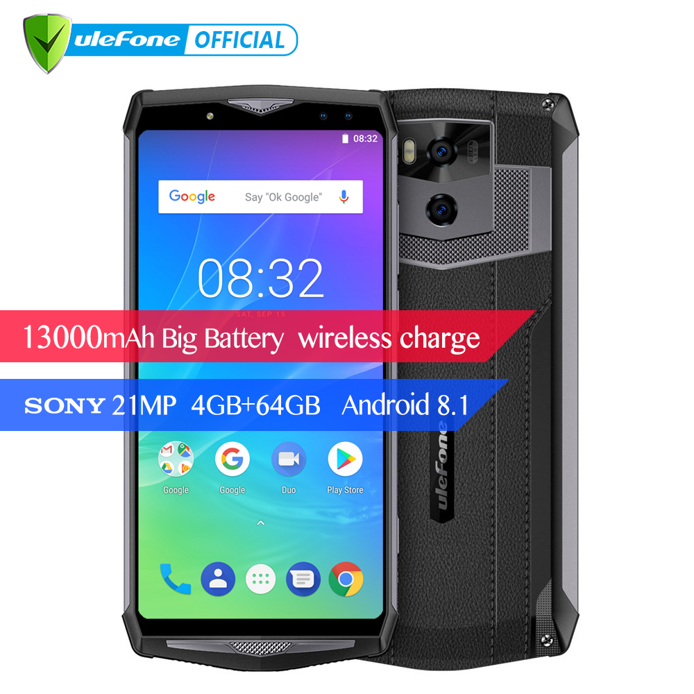 "Ulefone Power 5s 13000mAh Mobile Phone Android 8.1 6.0"" FHD MTK6763 Octa Core 4GB+64GB 21MP Face ID Wireless Charge Smartphone"