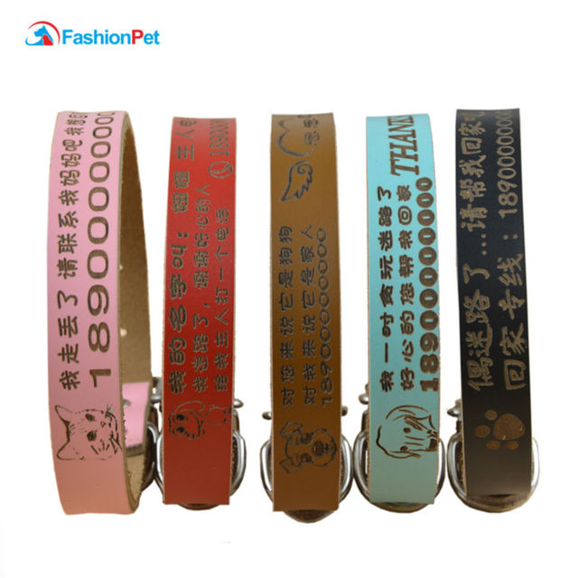 Luxury Genuine Leather Plain Pet Personalized Collar Lettering Pet Cat Puppy Dog Name Collar 5 Colors