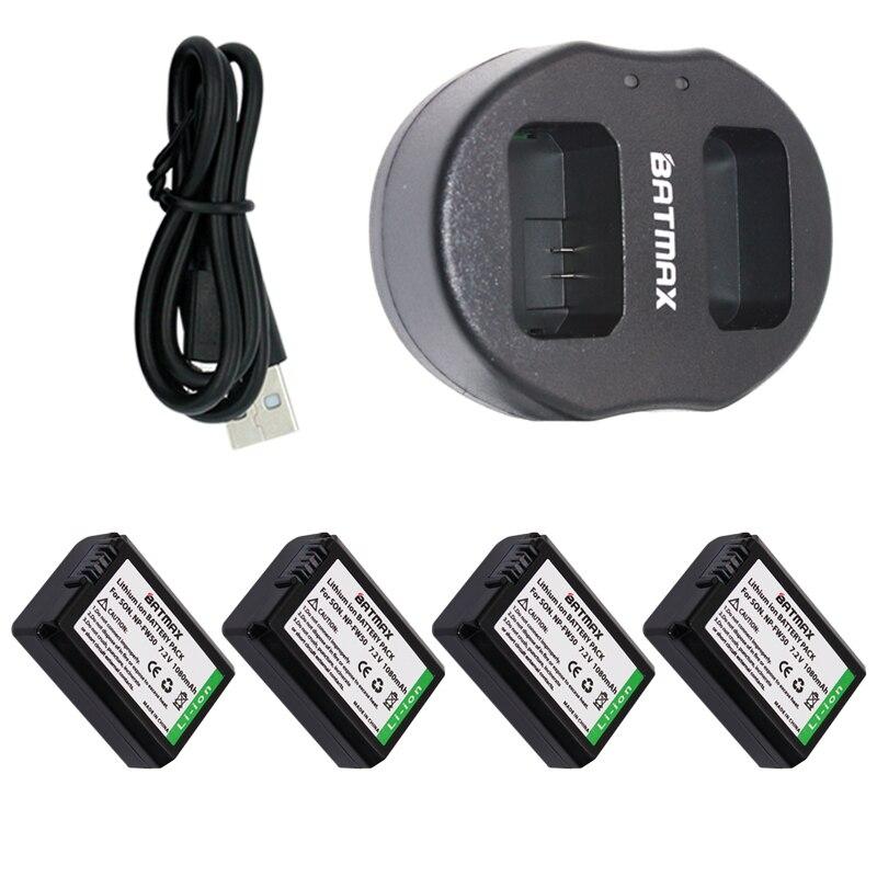 Dual USB Charger & Ad Alta Capacità NP-FW50 NP FW50 Batterie (4-Pack) per Sony Alpha 7 7R 7R II 7 S a7R a7S a7R II a5000 a5100 a6000