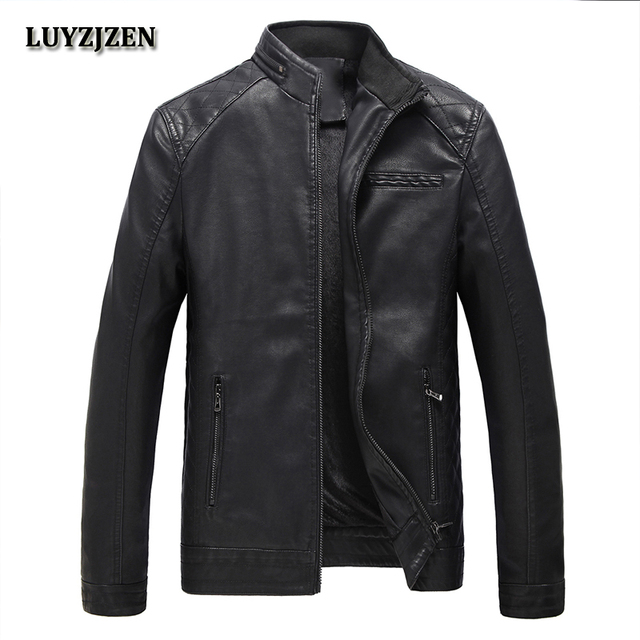 2017 New Brand PU Leather Jacket Men Autumn Winter Casual Mens Jackets Solid Clothes Fashion Elastic  Motorcycle Outerwear 304