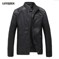2017 New Brand PU Leather Jacket Men Autumn Winter Casual Mens Jackets Solid Clothes Fashion Elastic