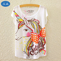 SEA MAO Cartoon Unicorn Print Loose Women T - Shirt Bat Sleeve Short - Sleeve Bowknot t-shirt women kawaii  tops clothing