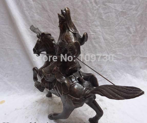 """Scy بير 002795 16 """"الصينية البرونز التنين رئيس المحارب guangong guanyu الله ركوب الخيل تمثال"""