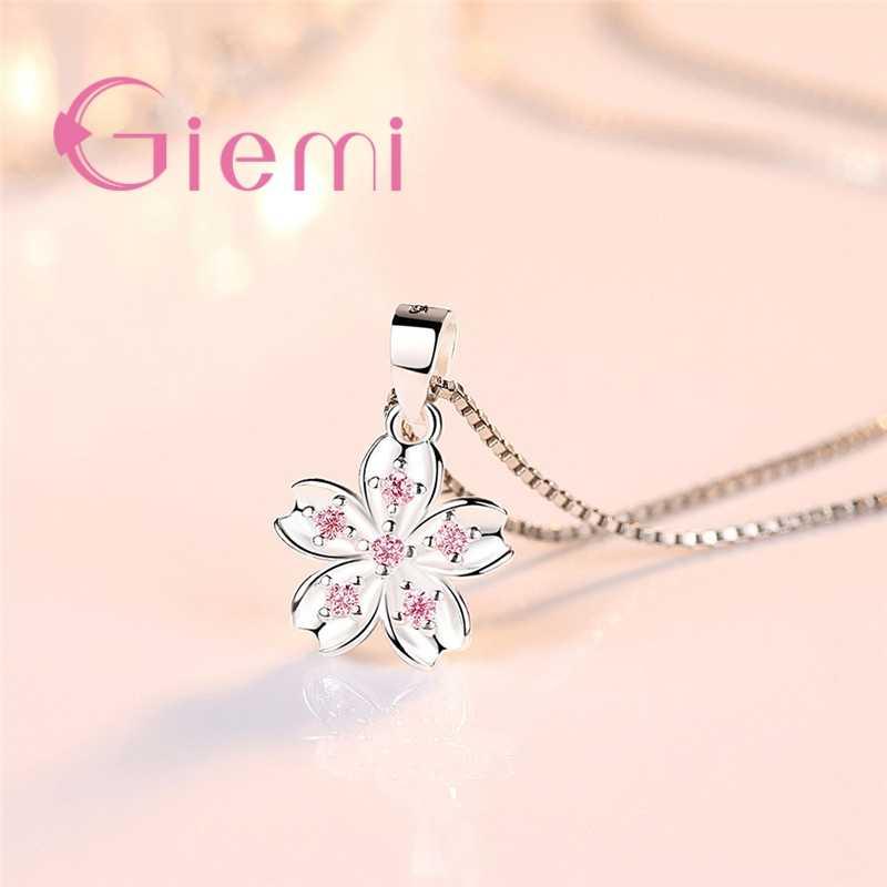 Fancinating modny prosty kwiat 925 srebro cyrkonia naszyjnik dla kobiet biżuteria zaręczynowa