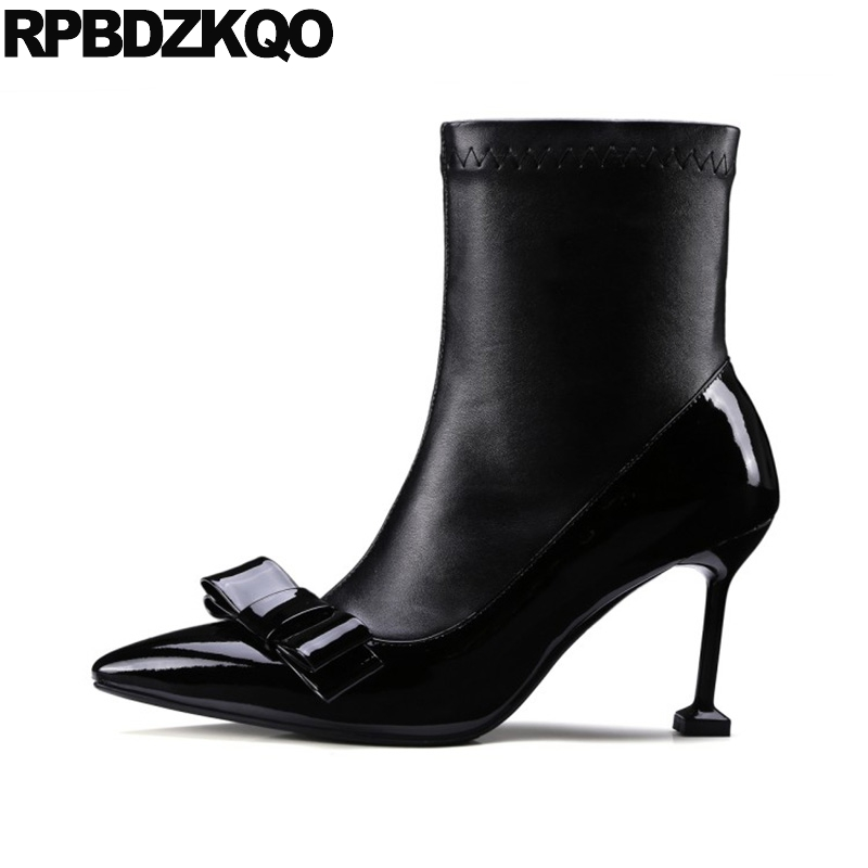 цены на Stiletto Patent Leather High Heel Shoes Side Zip Boots Bow Ankle Booties Short Autumn Pointed Toe Sexy 2017 Black Ladies Genuine в интернет-магазинах