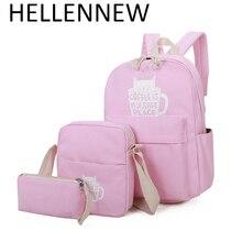 Hellennew Водонепроницаемый комплект Рюкзаки школьная сумка для подростков Обувь для девочек Packbag Кубок кошка печать Bagpack ноутбук Холст животных рюкзак