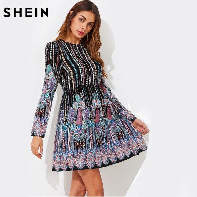 2342fa77b4 SHEIN Ornate Print Smock Dress Multicolor Tribal Print Casual Boho A Line  Dress Autumn Long Sleeve Skater Dress