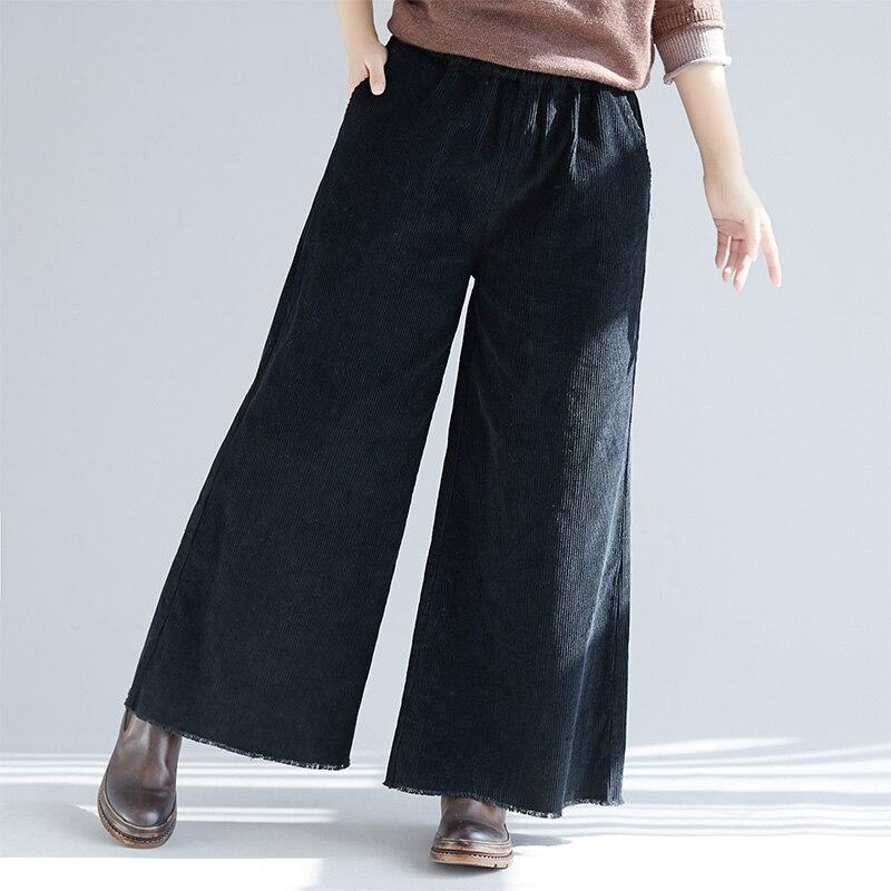 Plus Size 2018 Autumn Winter Women Fashion Elegant Solid Color Corduroy   Pants   Female Lady Elastic Waist Casual   Wide     Leg     Pants