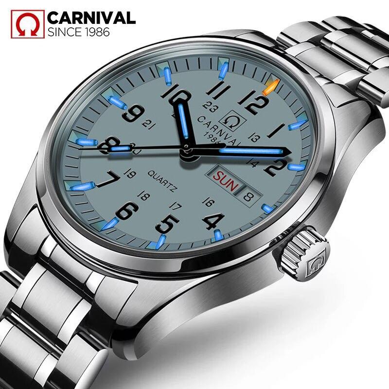 Carnival bleu lumineuses au tritium montre hommes quartz tritium lumineux étanche en acier inoxydable blanc date semaine montres