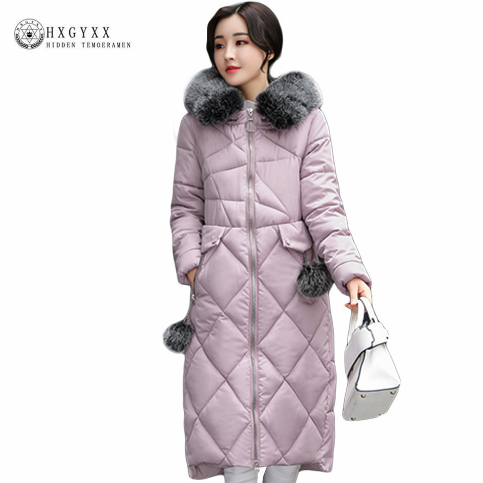 2017 Winter New Cotton Parka Slim Fur Collar Hooded Korean Long Wadded Coats Solid Color Thick Warm Zipper Quilted Jackets Okb44 winter collection parkas 2017 new warm jackets women long quilted coat parka fur collar hooded thick cotton coats abrigos mujer