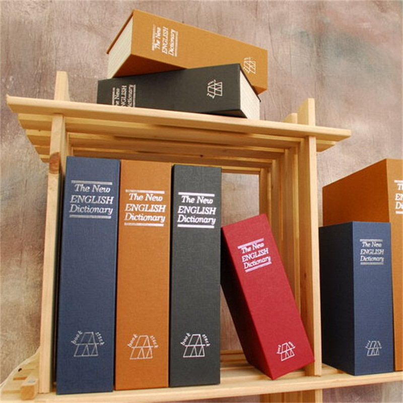 Size S Hidden Book Safe Box Security Lock Key English Dictionary Strongbox Steel Home Office Travel Phone Money Safes Box