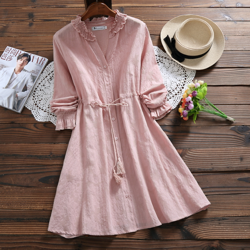 3 Colors Mori Girl Cute Mini Summer Dress For Women V Neck Cotton Linen Jacquard Female Vestidos Long Sleeve Tassel String Dress girl