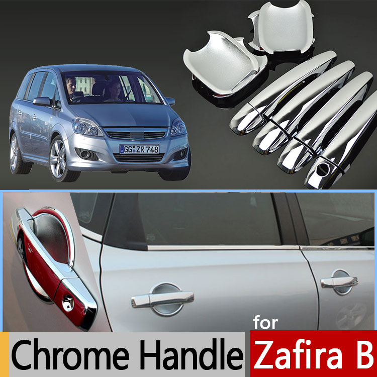 For Opel Zafira B Chrome Door Handle Cover Trim Set Of 4Pcs For Vauxhall Holden Zafira Family Plastic Accessories Car Styling