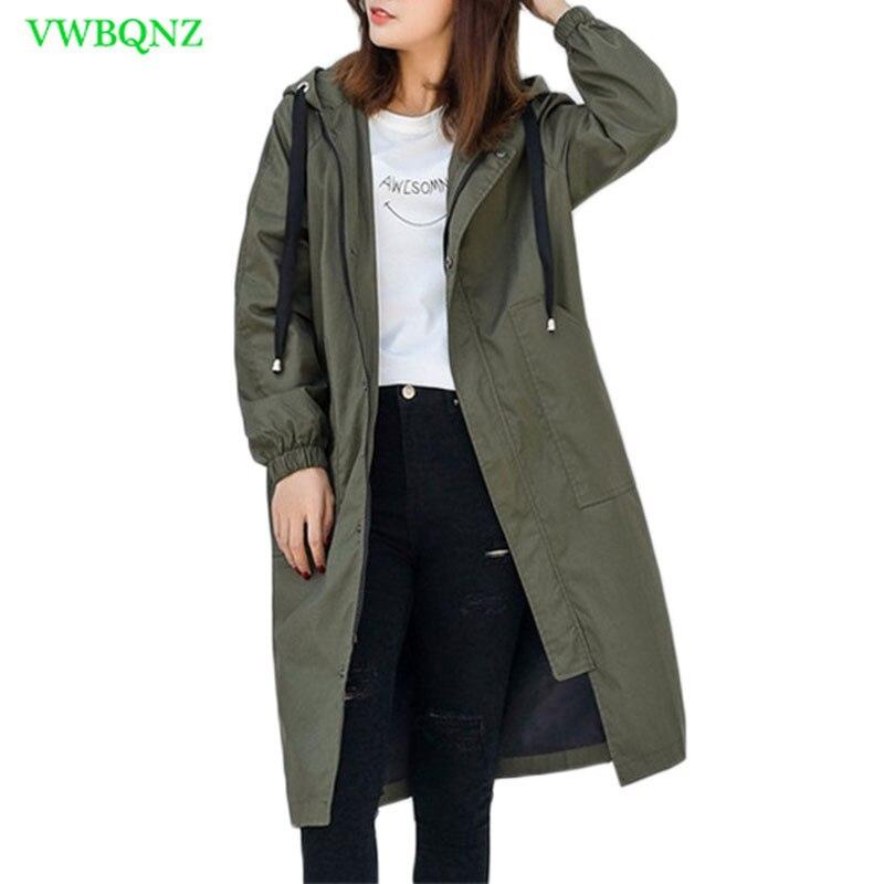 Casual Windbreaker Coat Women Autumn Winter Loose Long Trench Coats Women's New Korean Gray Hooded Student Cotton Overcoats A360