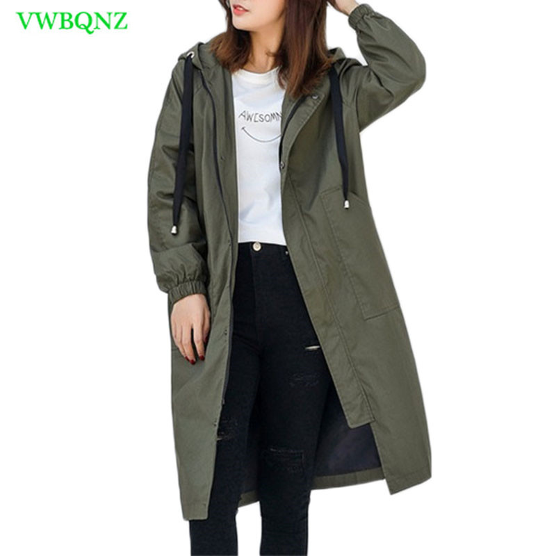 Casual Windbreaker Coat Women Autumn Winter Loose Long   Trench   Coats Women's New Korean Gray Hooded Student Cotton Overcoats A360