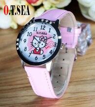Лидер продаж о. Т. моря бренда милый рисунок «Hello Kitty» Смотреть Дети Девушки Для женщин Мода Кристалл платье кварцевые наручные часы