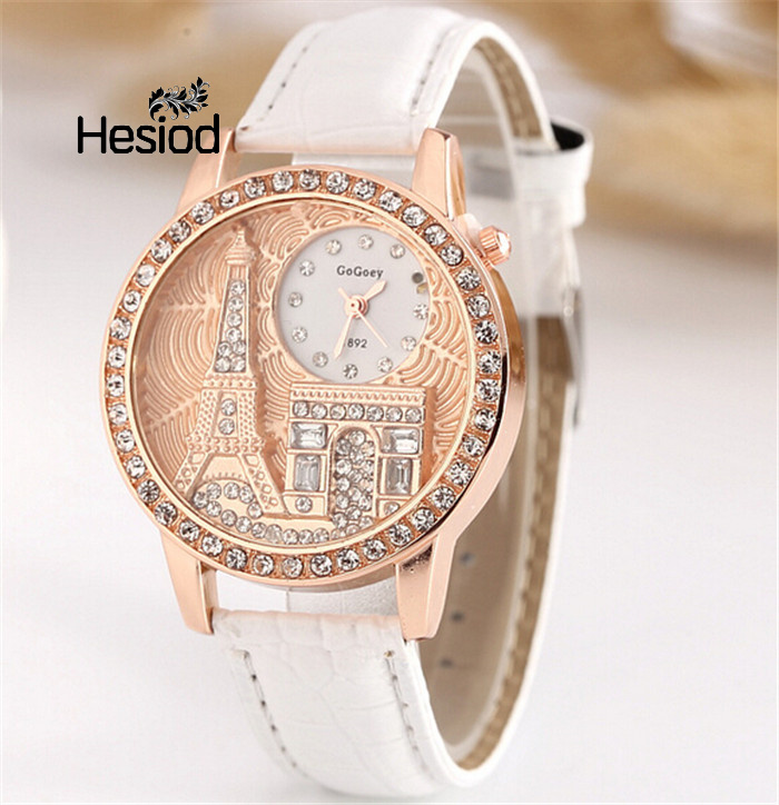Hesiod Women Rhinestone Watches Luxury Crystal Eiffel Tower Watch Women Back To School Quartz Wristwatches