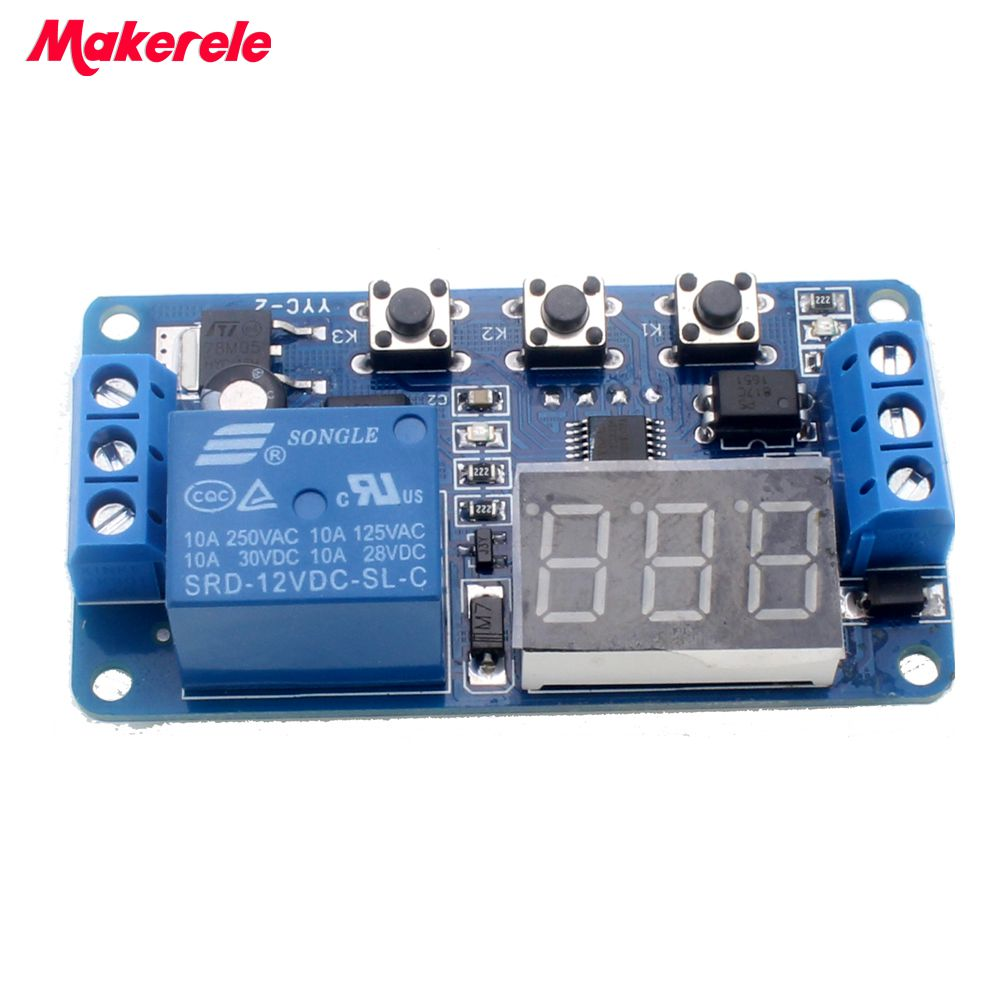 New Timer Relay DC 12V LED Display Digital Delay  Control Switch Module PLC Automation 1pc multifunction self lock relay dc 12v plc cycle timer module delay time relay