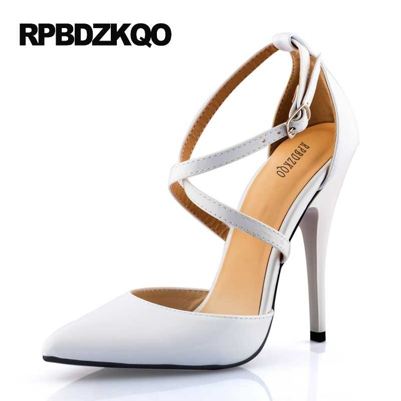 cc318294b6ea ... Red Prom Shoes High Heels 11 43 Ladies White Super Cross Strap  Crossdresser Stiletto Patent Leather ...