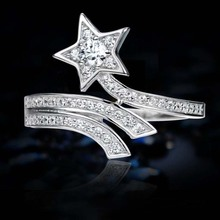 80% Silver for Women Genuine Fine Jewelry Star Adjustable Micro Paved Cubic Zircon 925 Sterling Female Ring Bague