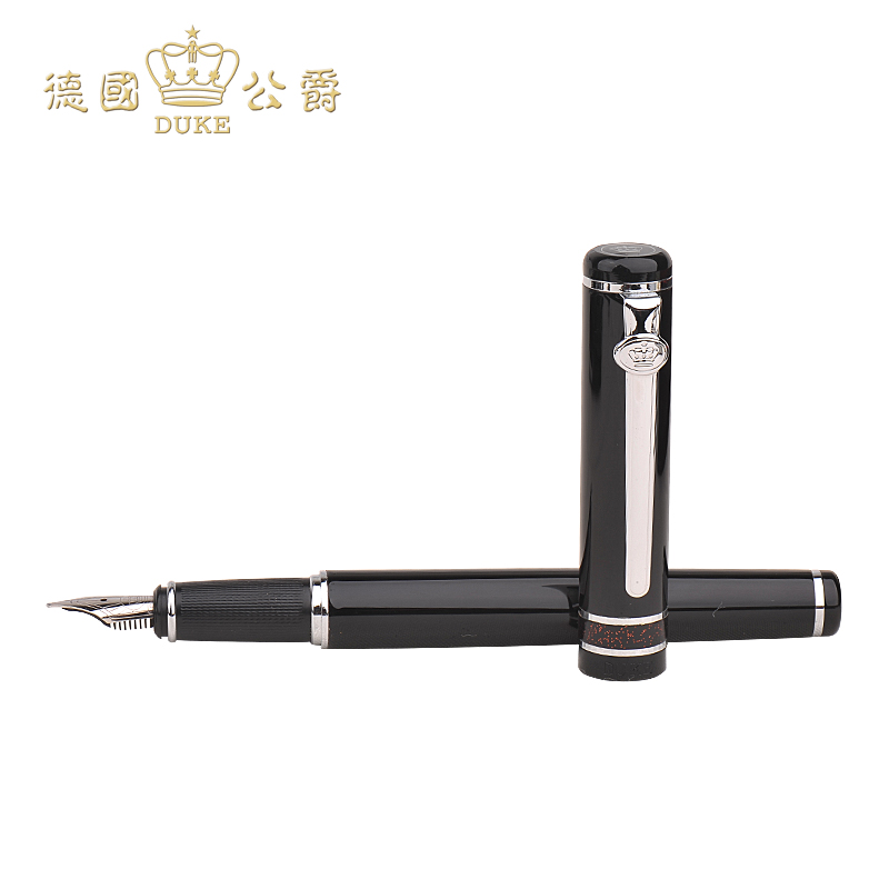 Duke M06 Black Silver Clip Fountain Pen Ink Pen 100% Brand New 0.5mm Iraurita Nib Business Gift Signature Pens Free Shipping most popular duke confucius bent nib art fountain pen iraurita 1 2mm calligraphy pen high end business gift pens with a pen case