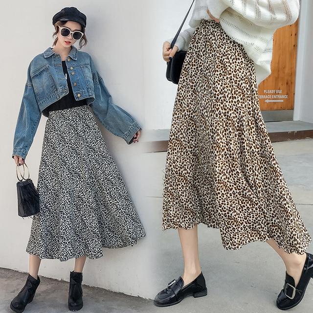 c33cc7ca78 Primavera otoño mujer leopardo imprimir faldas 2019 nueva moda mujeres  cintura alta Floral impresión línea