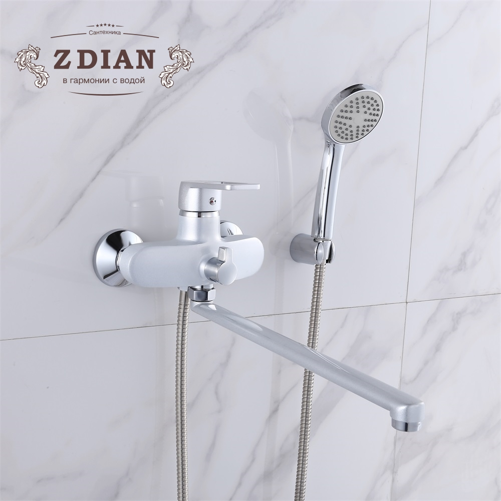 Pearl Silver Bathroom Shower Faucets with Long Spout Set single Handle Bathtub Faucet with Hand Shower Head Wall Chromed