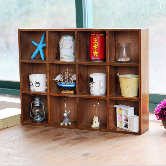 1pc Retro Multi Layer Wooden Furniture Storage Box Cabinet Wall Display For Home