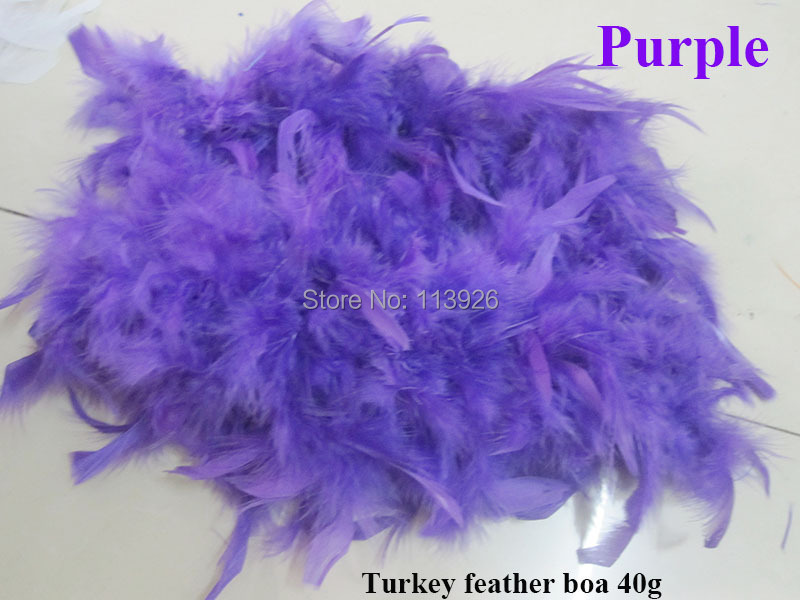 100pcs/lot 40g purpleTurkey Feather Boa 200cm(79) long Turkey Feather Strip party feather boas