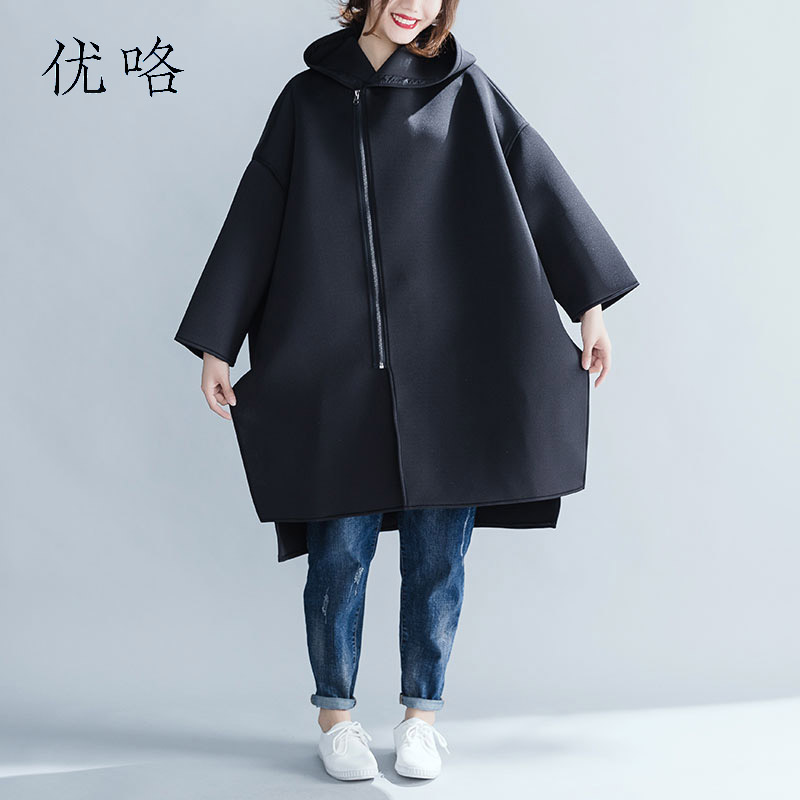 2018 Winter Women'S Casual Loose Hoodwed Windbreaker Coat Plus Size Black Thick Cardigan Coat Femme Cotton   Trench   Tops 5XL 6XL