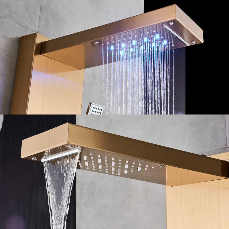 Golden Shower Pannello HA CONDOTTO LA Luce Bagno Vasca Da Bagno Doccia Colonna Torre Schermo Digitale Cascata doccia a Pioggia Mixer Ruotare Massaggio Getti